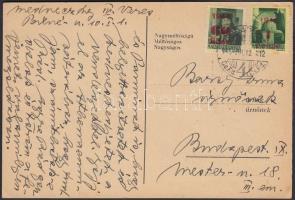 1945 (2.díjszabás) Helyi levelezőlap Kisegítő (I) 60f/8f + 1P/1P bérmentesítéssel