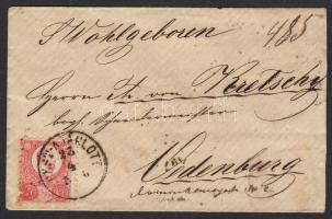 1872. 3x Réznyomat 5kr ajánlott levélen PEST-AJÁNLOTT - SOPRON OEDENBURG