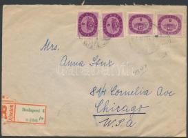 1946 (15.díjszabás) Ajánlott levél Chicago-ba Budapestről 24x5mP bérmentesítéssel / Registered cover to Chicago franked with 24 stamps