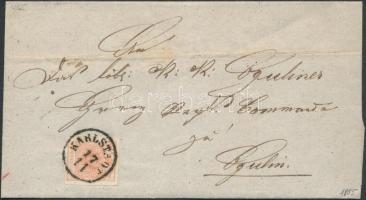 1855 3kr MP III szép szélekkel levélen / with nice margins on cover KARLSTADT - OGULIN