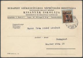 1946 (15.díjszabás) Helyi céges levelezőlap Betűs(III) Csomag 5kg/2P bérmentesítéssel / Local postcard