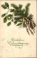WWI Austro-Hungarian flag, Christmas greeting card litho, Első világháborús osztrák-magyar zászló, Karácsonyi üdvözlőlap, litho