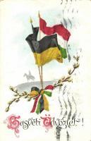 WWI military Easter, Austro-Hungarian flags, Első világháborús katonai húsvét, osztrák-magyar zászlók