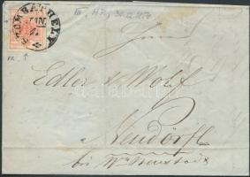 1854 3kr HP III szép szélekkel, lemezhibával levélen (teljes tartalommal) / with nice margins, with plate variety on cover (with full content) SZOMBATHELY - OEDENBURG - W.NEUSTADT