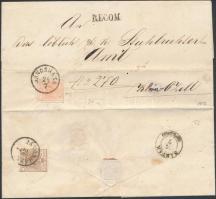 1857 3kr MP III szép szélekkel + hátoldalon / on the backside 6kr III. levélen (teljes tartalommal) belül 15kr illetékbélyeg / with nice margins on cover (with full content) 15kr fiscal stamp inside JÁNOSHÁZA - SÁRVÁR