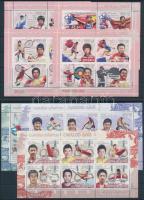Beijing Olympic champions minisheet set on 4 stock cards, Pekingi Olimpiai bajnokok kisív sor 4 db stecklapon