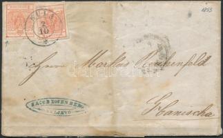 1853 2 x 3kr HP III szép szélekkel (a bal oldali bélyegen festékfolt a sarokban) levélen (teljes tartalommal / on cover (with full content) KULA - ESSEGG - NAGY-KANISA (a levélen szakadások, foltok / demaged cover)