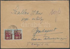 1945 (3.díjszabás) Távolsági levél 30 db Kisegítő (I) bélyeggel bérmentesítve / Domestic cover franked with 30 stamps
