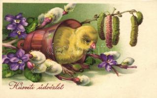 Easter, Chicken with flowers, Amag 2934. litho