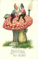 New Year, Dwarves on a mushroom, HWB Ser. 3570. litho (small tear)