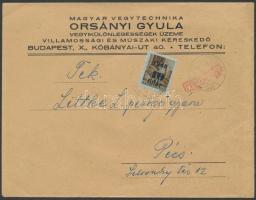 1945 (2.díjszabás) Cenzúrázott nyomtatvány Kisegítő (II) 40f/10f bérmentesítéssel