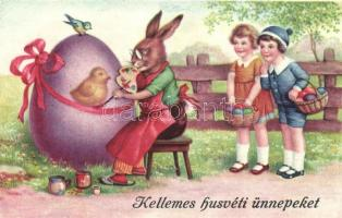 Easter, Rabbit painter with girls, egg (EK)