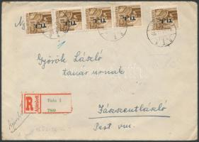 1946 (7.díjszabás) Ajánlott távolsági levél Betűs (I) 5xTl.I/10f + 5xAjl.I/20f bérmentesítéssel