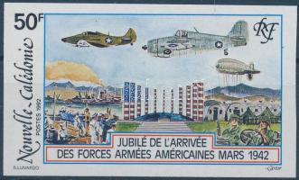 US troops in New Caledonia imperforated stamp, 50 éve érkeztek az amerikai seregek Új-Kaledóniába vágott bélyeg