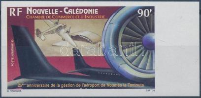 """""""Nouméa La Tontouta"""" airport imperforated margin stamp, 25 éve áll a """"Nouméa La Tontouta"""" repülőtér az ipari és kereskedelmi kamara felügyelete alatt ívszéli vágott bélyeg"""