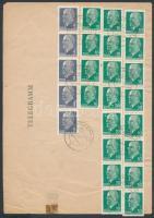 1976 Távirat 25 tekercsbélyeggel bérmentesítve / Telegramm franked with 25 stamps from coil