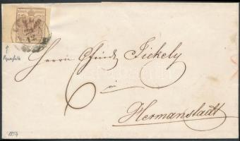 1854 6kr vörösesbarna HP III nagy / teljes szélekkel papírránccal levélen / with nice / large margins, with paper crease on cover LUGOS - Hermannstadt