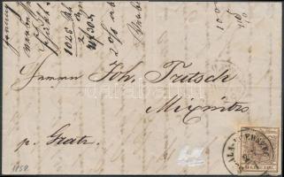 1858 6kr MP III. teljes / szép szélekkel levélen (teljes tartalommal) / with nice margins on cover (with full content) SZALA-EGERSZEG - KÖRMEND - GRATZ - MIXNITZ