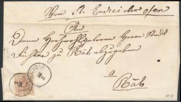 1854 6kr vörösesbarna HP III. szép szélekkel levélen / with nice margins on cover SZ:ENDRE (gudlin 200p) - OFEN - RAAB