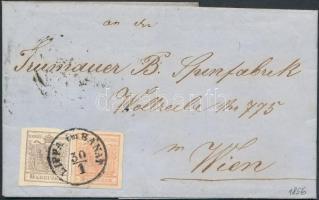 1856 6kr + 3kr MP III. szép szélekkel távolsági levélen (teljes tartalommal) / with nice margins on cover (with full content) LIPPA im BANAT - TEMESVÁR - WIEN