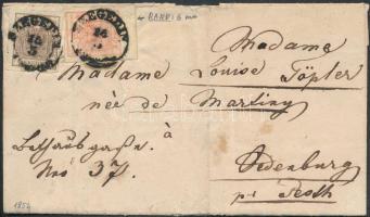 1854 6kr + 3kr HP III nagy ívszélekkel távolsági levélen (teljes tartalommal) / with large margins on cover (with full content) SZEGEDIN - OEDENBURG - WIEN