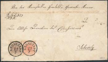 1853 6kr + 3kr HP III. és I. érintőlegesen vágva / szép szélekkel távolsági levélen / on cover KRONSTADT - HERRMANNSTADT - SZÁSZVÁROS