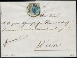 1854 9kr HP III. szép szélekkel távolsági levélen (teljes tartalommal) / with nice margins on cover (with full content) KASCHAU - WIEN