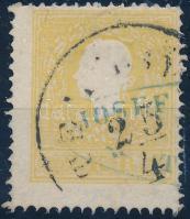 """2kr yellow II shifted parforation """"TEMESVÁR"""" (thin paper), 2kr sárga II, elfogazva """"TEMESVÁR"""" + kék cégbélyegzővel előérvénytelenítve (kis papírelvékonyodás)"""