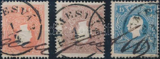 """3 stamps """"TEMESVÁR"""" + handwritten marks, 3 db bélyeg """"TEMESVÁR"""" bélyegzéssel + kézírással"""
