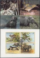 Endangered animals block of 4 on FDC, Veszélyeztetett állatok négyestömb FDC-n
