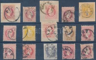 1867 15 db bélyeg olvasható bélyegzésekkel / 15 stamps with readable cancellations