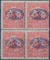 Debrecen I. 1919 Hadisegély III 10f négyestömb (10.000) / Mi 11 block of 4 Signed: Bodor, Flasch