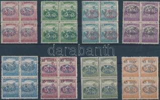 Debrecen 1919 8 Arató érték négyes tömbökben (53.600) / Mi 15-17, 19a, 21, 23-25 blocks of 4. Signed: Bodor