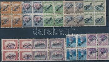 Debrecen I. 1919 9 Köztársaság felülnyomású bélyeg négyes tömbökben (76.000) / Mi 43, 45, 46, 49-51, 53a, 59a, 60 blocks of 4. Signed: Bodor, Flasch