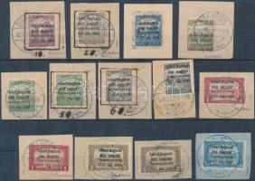 Nyugat-Magyarország I. első 9 értéke másodpéldányokkal közte eltolódott felülnyomások, szedési hibák / Mi 1-9 with duplicates, shifted overprints, plate varieties, 13 pcs. Signed: Bodor