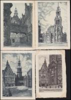 Drezda - 10 db használatlan rézkarc képeslap, Dresden,  10 etching style art postcards (pre-1945)