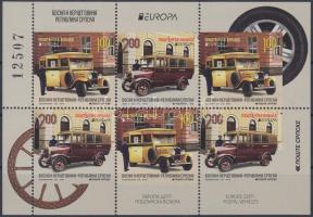 Europa CEPT Postal vehicles stamp-booklet sheet, Europa CEPT Postai járművek füzetlap