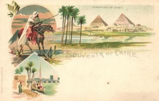 Cairo, Pyramid of Giza, Qasr al-Nil Bridge, litho
