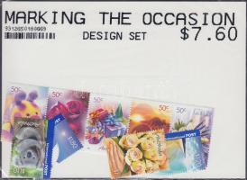 Greeting Stamps set, Üdvözlőbélyegek sor (közte ötöscsík)