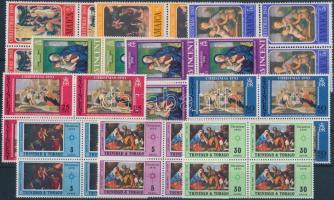 Painting motif 16 diff. stamps in blocks of 4, with complete sets on 2 stock-cards, Festmény motívum 16 klf bélyeg négyestömbökben, közte teljes sorokkal 2 stecklapon