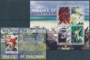 The protection of flora and fauna Zanzibar mini sheet + block, A zanzibári élővilága védelme kisív + blokk