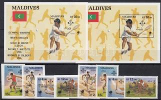 1989 Nyári Olimpia, Szöul fogazott sor és blokk és olimpiai érmesek vágott sor és blokk Mi 1307-1310, 1325-1328 + blokk 144 + 148