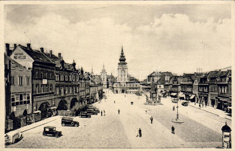 Zatec, Saaz; Main square, town hall, Hotel Engel, Max Heller's shop, furniture store, dentistry, automobiles