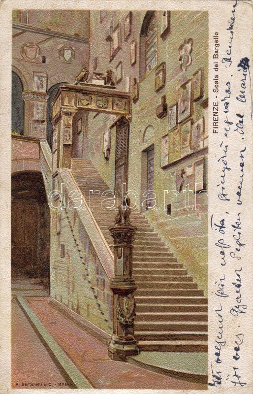 Firenze, Scala del bargello, litho