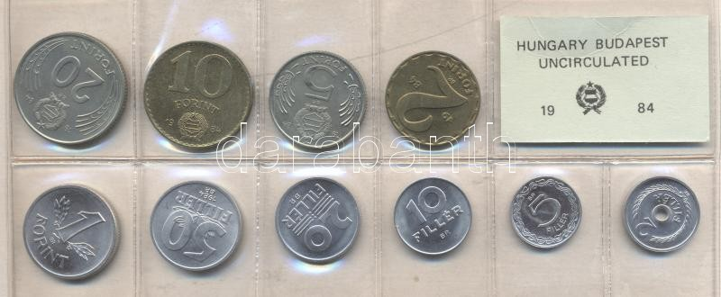 1984. 2 Fillér - 20 Forint coin set with 10 pieces of various values 1984. 2 Fillér - 20 Forint Kursmünzensatz mit 10 Stück verschiedener Werte 1984. Forgalmi sor 2f-20Ft, 10db klf értékkel