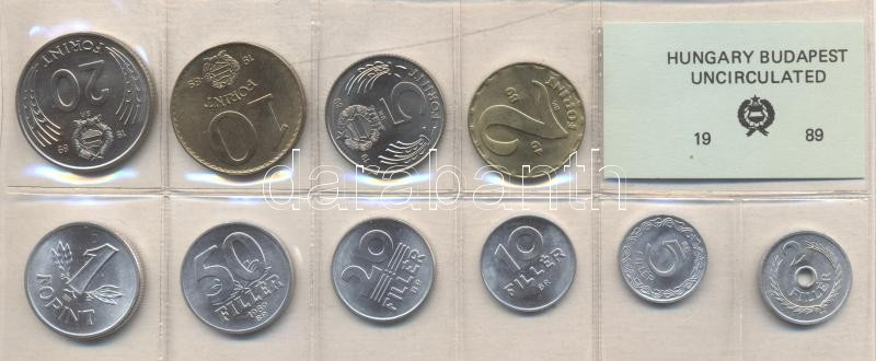 1989. 2 Fillér - 20 Forint coin set with 10 pieces of various values 1989. 2 Fillér - 20 Forint Kursmünzensatz mit 10 Stück verschiedener Werte 1989. Forgalmi sor 2f-20Ft, 10db klf értékkel