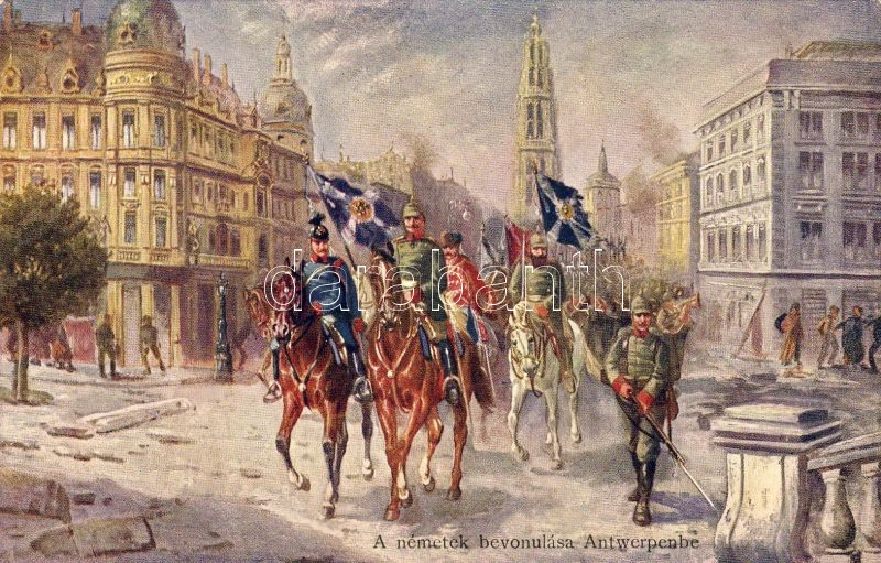Antwerpen, Entry of the German troops, cathedral