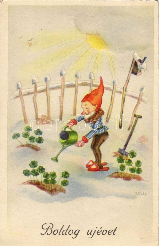 New year greeating card, dwarf, clover s. I. Sch, Újév, törpe, lóhere s: I. Sch.