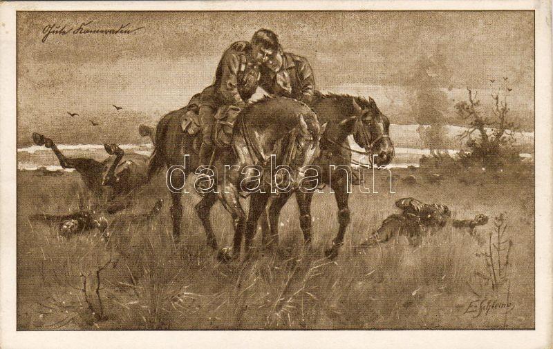 Soldiers, battle field, artist signed / Kriegskarte Nr. 963., Katonák a csatamezőn