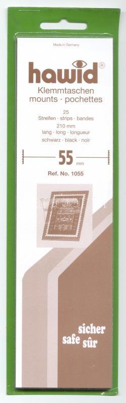 Hawid 1055 Strips 25/pack, 210x55mm, black, Hawid 1055 Filacsík, 25db, 210x55mm, fekete, Hawid 1055 Klemmtaschen Streifen, 25 streifen, 210x55mm schwarz